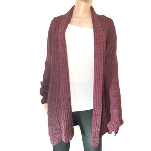 Sparkle & Fade | Red and Blue Long Knit Cardiga